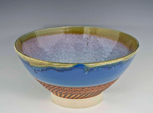 "11.5"" Handmade Porcelain Large Serving Bowl Rutile Blue"
