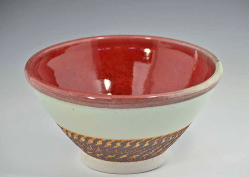 "9"" Handmade Porcelain Medium Serving Bowl, Red Green"