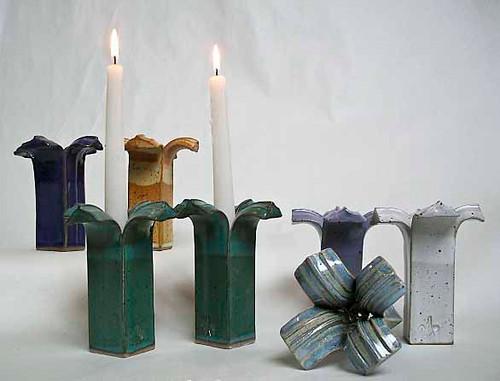 Handmade Stoneware Pedestal Candlesticks