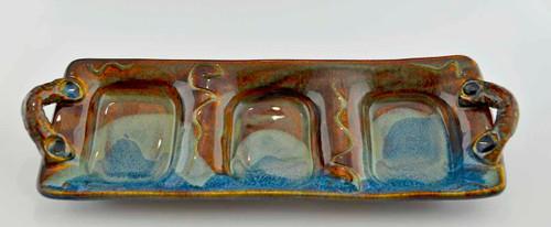 Handmade Stoneware Relish Dish w Handles, Blue Brown Glaze