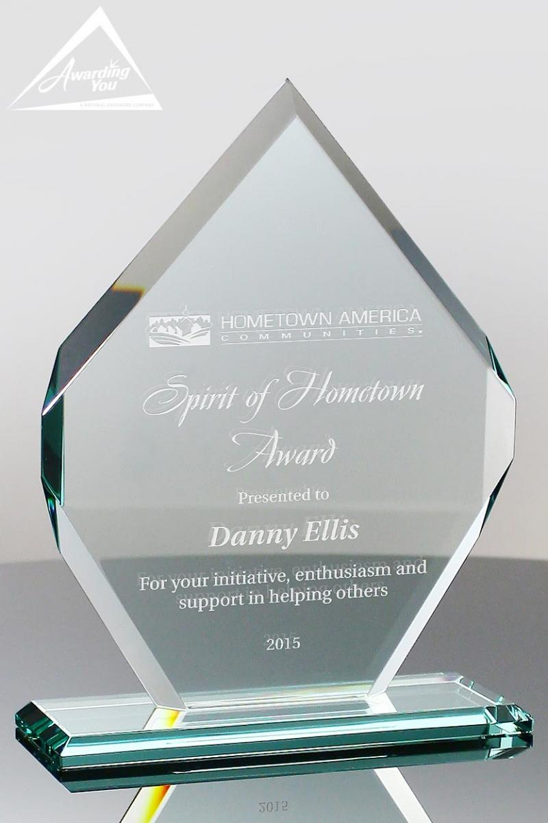 engraved glass awards are popular for sponsors and donors