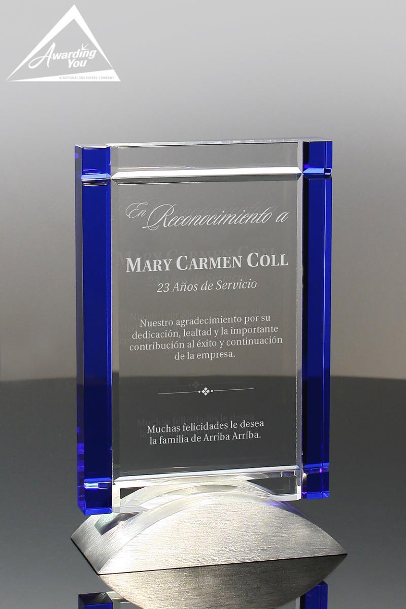 rectangular shaped sales awards offer incredible engraving space