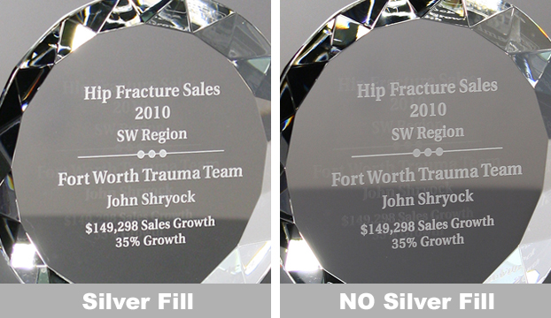 Sample of crystal award with and without silver fill