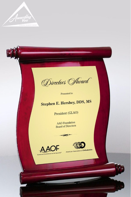 Scroll Rosewood Plaque Awarding You