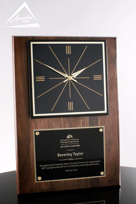 Langley Walnut Clock Plaque Award - with Engraving