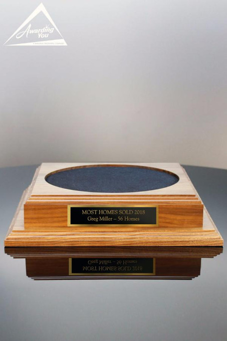 Square Walnut Base 12 Wide With Black Gold Nameplate