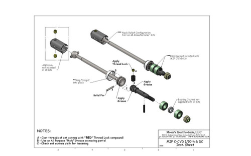 MIP 08123 C-CVD Axle Kit, Traxxas Elec. Rustler, Elec. Stampede (2)