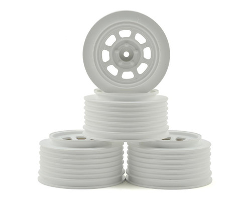 DE Racing Speedway SC Short Course Dirt Oval Wheels (White) (4) (19mm Backspace) Slash Front w/12mm Hex