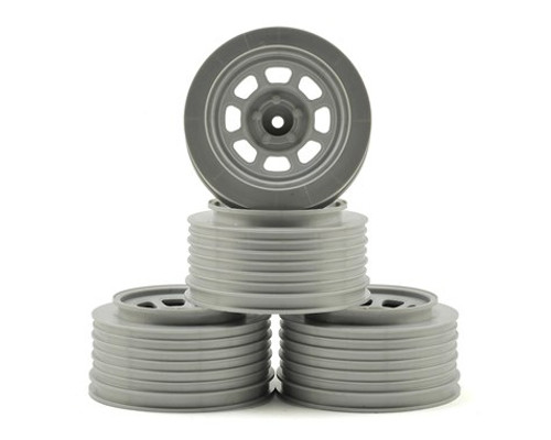 DE Racing Speedway SC Short Course Wheels (Silver) (4) (21.5mm Backspace) Slash Rear w/12mm Hex