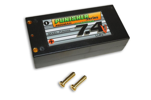 "Punisher Series ""Shorty Pack"" 4600mah 100C 2cell Lipo (4mm Bullet) 7.4V Battery"