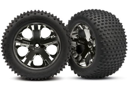 Traxxas Alias Rear Tires w/All-Star Wheels (2) (Black Chrome) (Standard) Rustler
