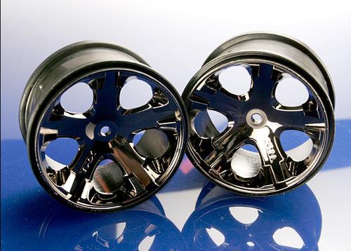 "Traxxas 12mm Hex All-Star 2.8"" Rear wheels (2) (Black Chrome) Rustler, Stampede"