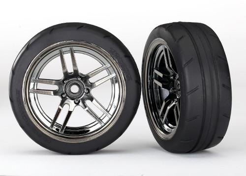 """Traxxas 4-Tec 2.0 1.9"""" Response Front Pre-Assembled Tires w/Split-Spoke Wheels (Black Chrome) (2)"""