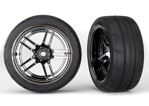 """Traxxas 4-Tec 2.0 1.9"""" Response X-Tra Wide Rear Pre-Assembled Tires w/Split-Spoke Wheels (Black Chrome) (2)"""