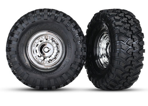 "Traxxas TRX-4 Tires & Wheels, Assembled, Glued (1.9"" Chrome Wheels, Canyon Trail 1.9 Tires) (2)/Center Caps, (2)/Decal Sheets"