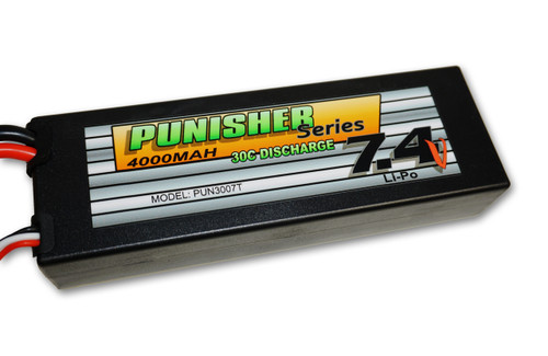 Punisher Series 4000mah 30C 2cell Lipo (Traxxas Plug) 7.4V Battery