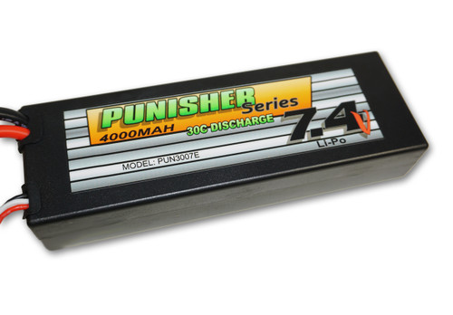 Punisher Series 4000mah 30C 2cell Lipo (EC3 Plug) 7.4V Battery