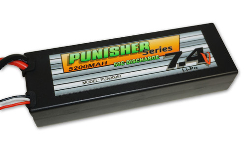 Punisher Series 5200mah 50C 2cell Lipo (Traxxas Plug) 7.4V Battery