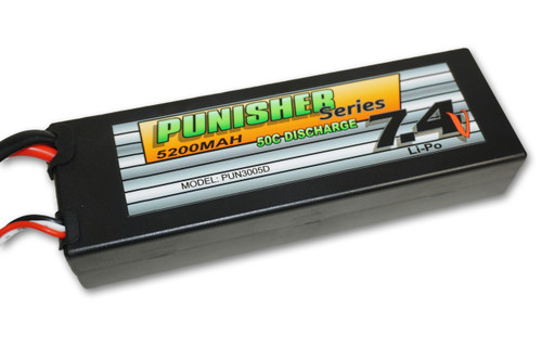 Punisher Series 5200mah 50C 2cell Lipo (Deans Plug) 7.4V Battery