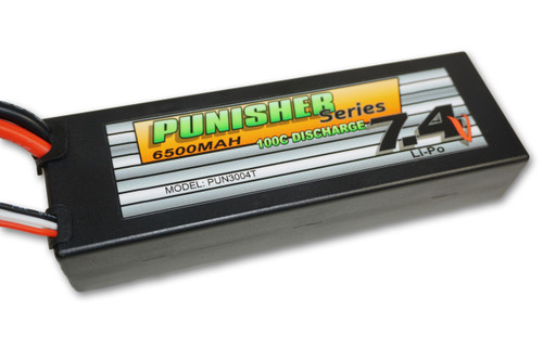 Punisher Series 6500mah 100C 2cell Lipo (Traxxas Plug) 7.4V Battery