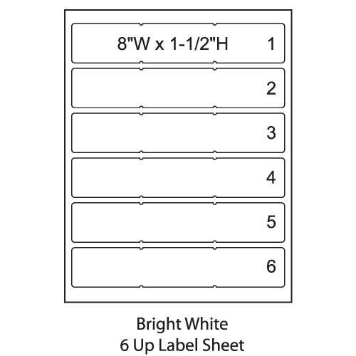 smead colorbar 8 bright white laser printer labels 6 up sheet