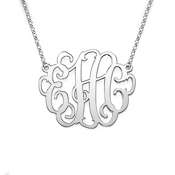 Silver Monogram Necklace - 1 inch - 0.925 - ANS006