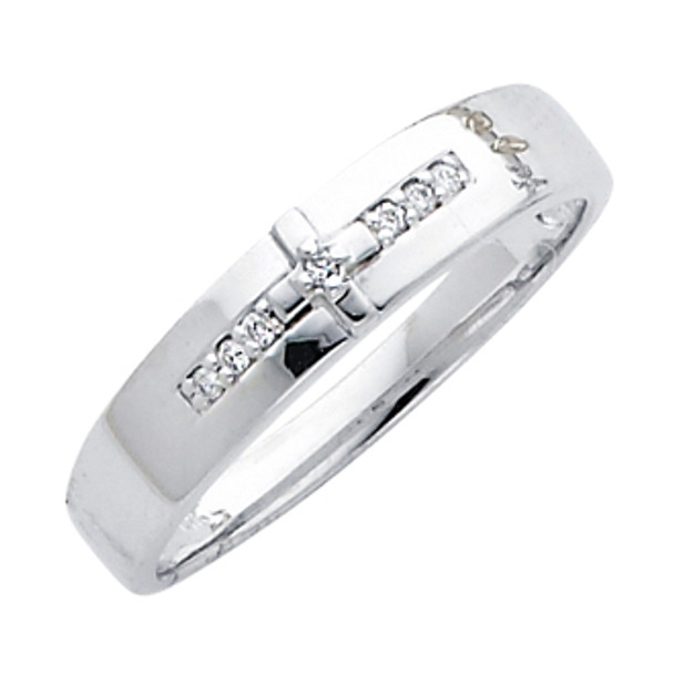 White gold wedding band with Diamonds - 14K  0.05 Ct - DRG7G