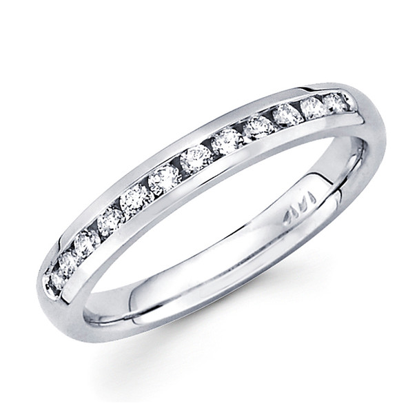 White gold wedding band with Diamonds - 14 K - BD5-9