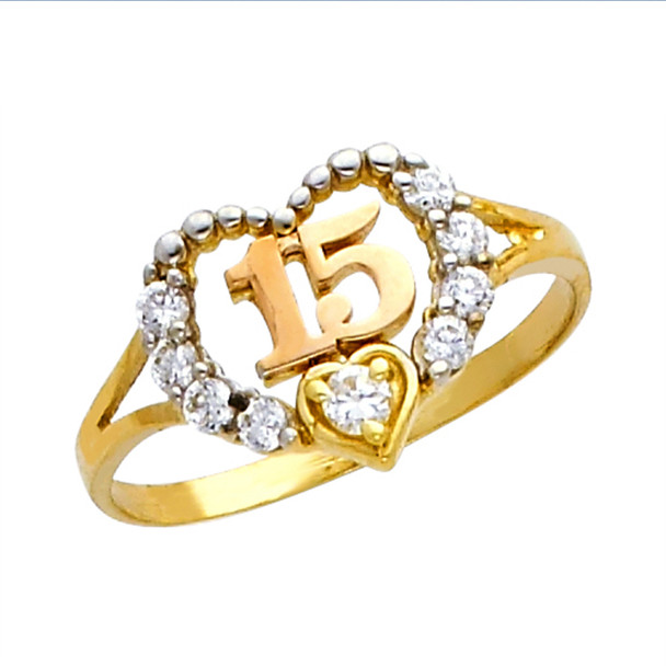 Forever 15 - Yellow Gold Ring with CZ - 14 K.  1.7 gr - RG663