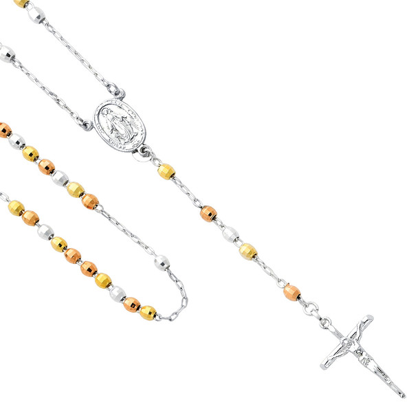 Silver Rosary Necklace - Coated Gold  - SSNK3