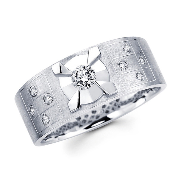 White gold wedding band with diamonds - BD1-7