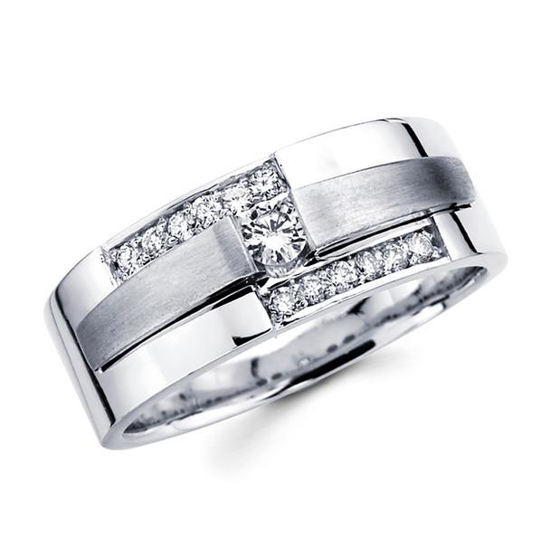 White gold wedding band with diamonds - BD1-4