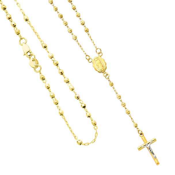 Yellow / White / Red Gold Rosary Necklace - 14 K - NK67