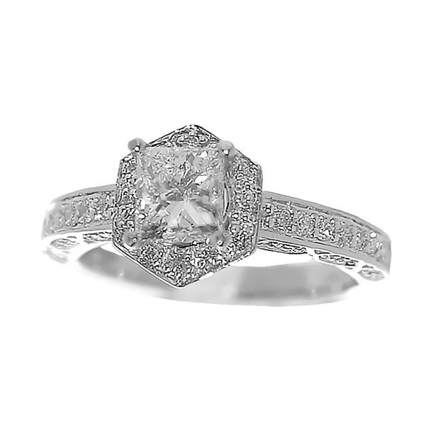 White Gold Engagement Ring - 14K - ERB-505