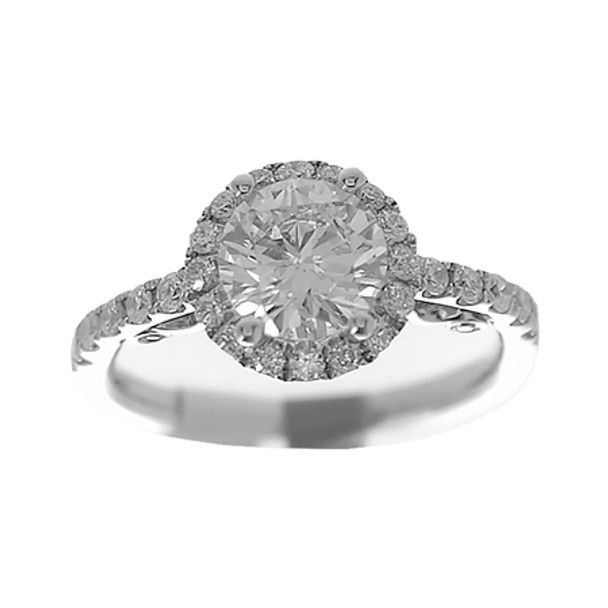 White Gold Engagement Ring - 14K - ERB-506