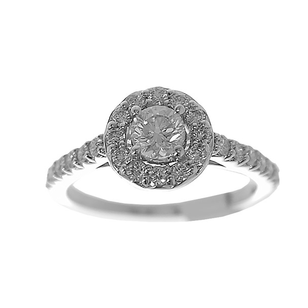 White Gold Engagement Ring - 14K - ERB-507