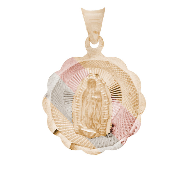 Yellow / White / Red Gold Virgin Mary Medal - 14 K - RP227