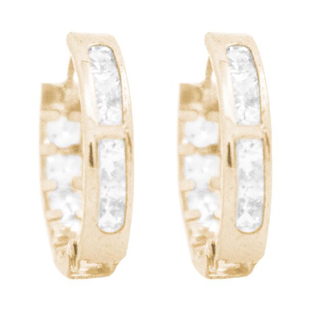 Yellow Gold Earrings - CZ - 14 K - ER353