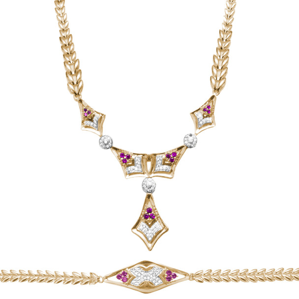 Necklace and Bracelet Set  - Yellow Gold - 14 K - JST125
