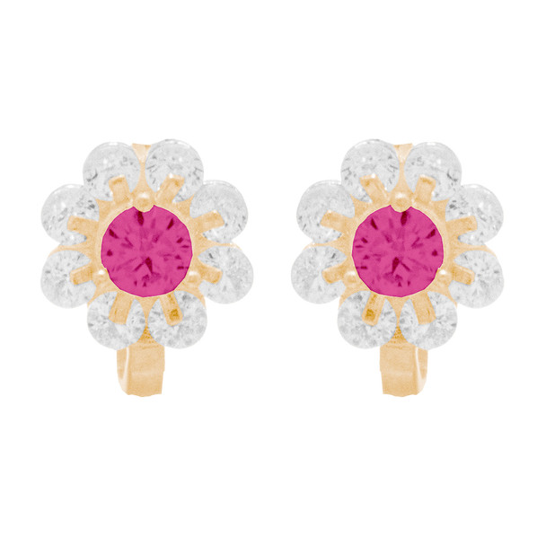 Yellow Gold Earrings with Red CZ - 14 K  - ER406