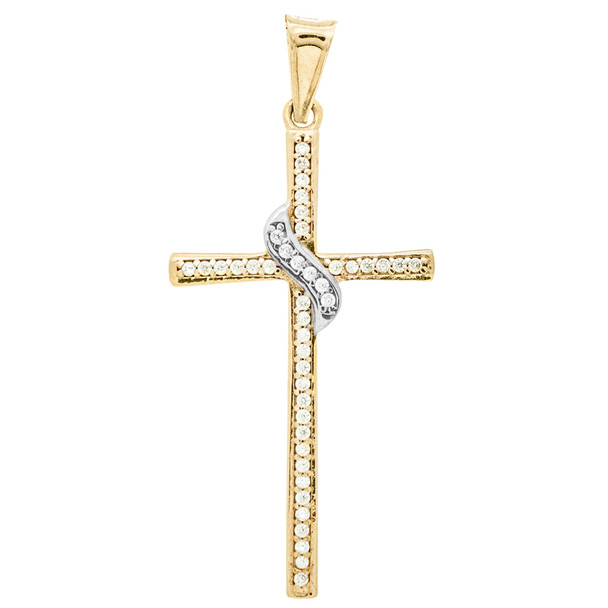 Yellow / White Gold Cross Pendant - 14 K - PTC224 - 1.3g