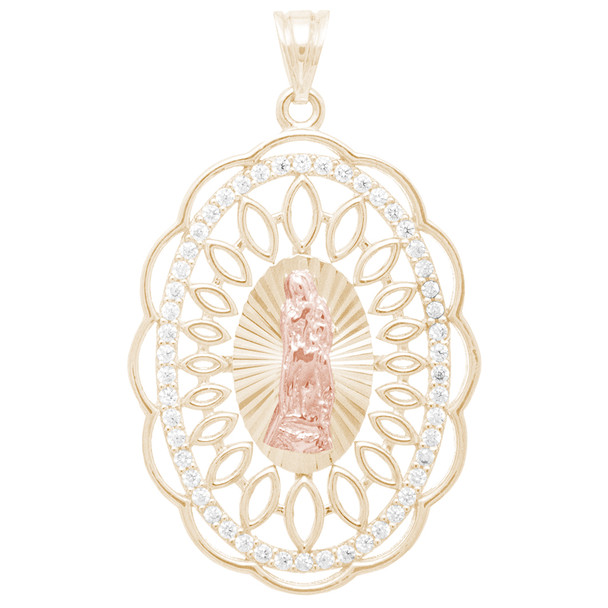 Yellow and Red Gold Virgin Mary Pendant with CZ  - 14 K - PTR575  Yellow and Red gold pendant with CZ  14 K.  3.6 gr.