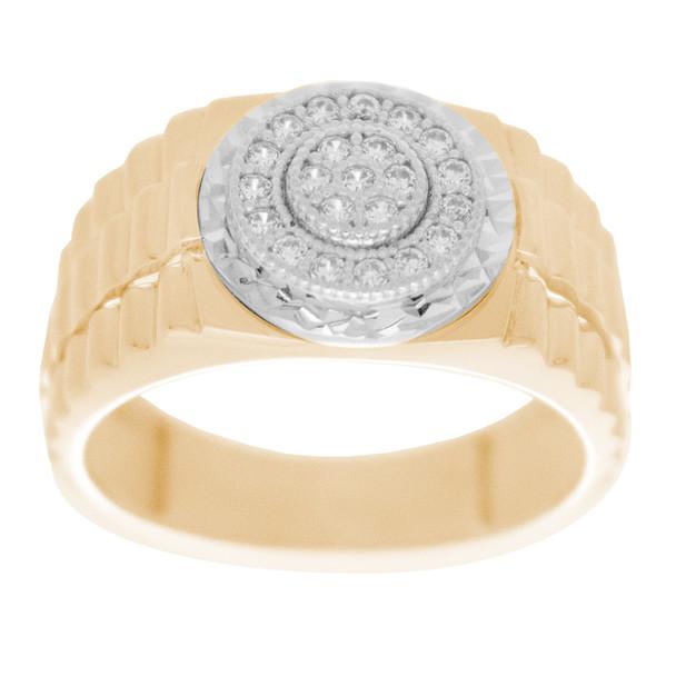 Yellow & White  Gold Ring with CZ - 14 K - RGO323  Yellow & White Gold ring decorated with CZ.  14K   5.3 gr