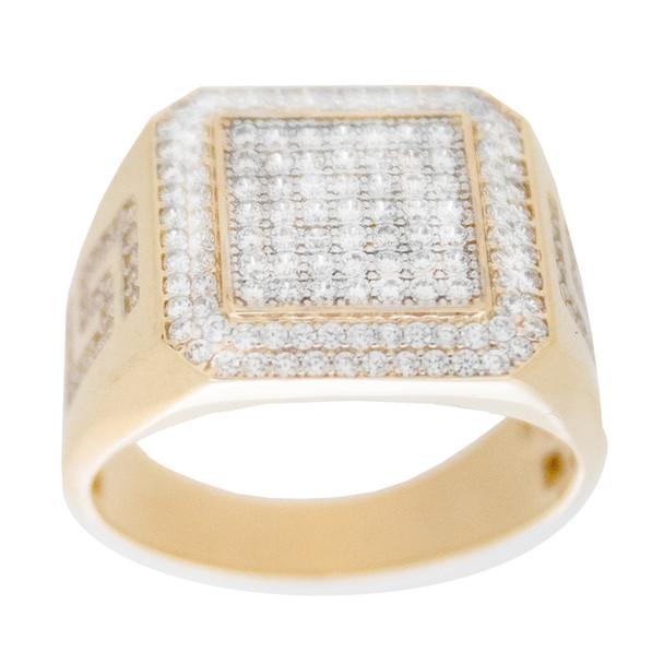 Yellow & White  Gold Ring with CZ - 14 K - RGO324  Yellow & White Gold ring decorated with CZ.  14K | 8.4 gr