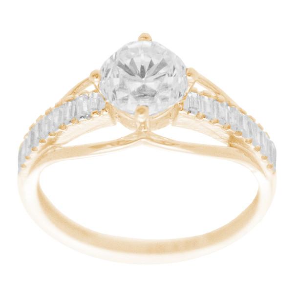Yellow & White  Gold Ring with CZ - 14 K - RGO325  Yellow & White Gold ring decorated with CZ.  14K   2.5 gr