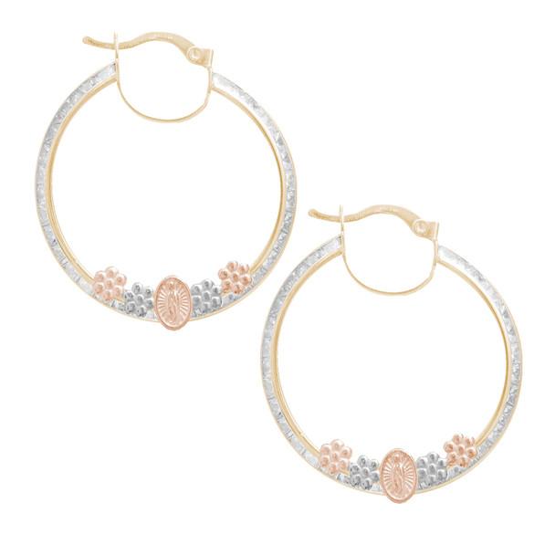 Yellow, white & red Gold Hoop Earrings with CZ - 14 K  - ER4085  Three  Gold hoop earrings.  14K | 3.8 gr