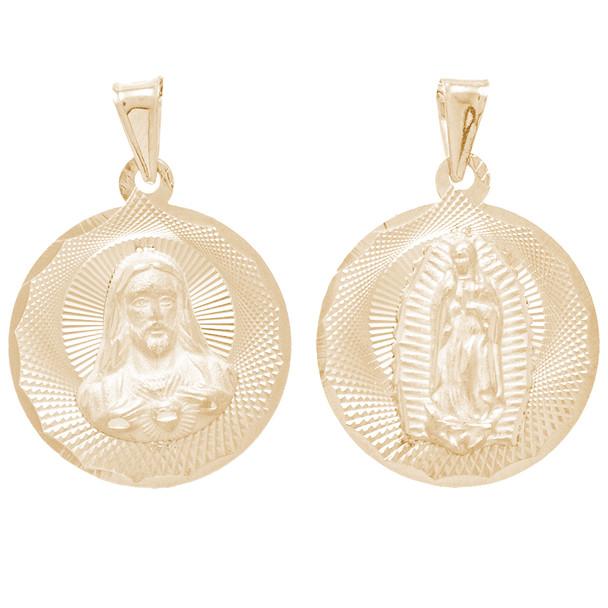 Yellow Gold Medal - 2 Sides - 14 K - RP263  Jesus Christ / Virgin Mary