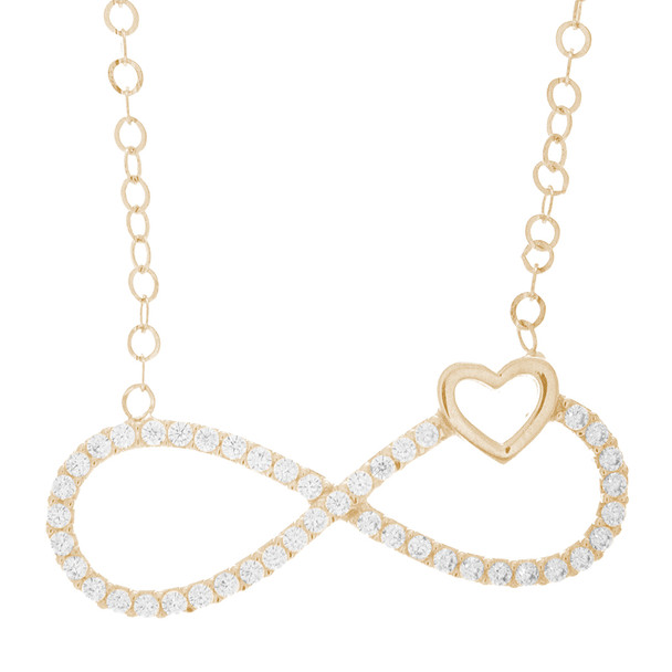 Necklace and Pendant Set  - CZ - 14 K - JST333  Necklace and infinite love Pendant Set  14 K. | CZ.  For more info call us at: 773-342-1226