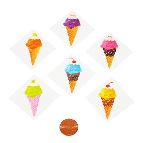 Ice Cream Cone Removable Tattoos