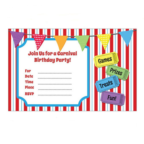 Large Carnival Party Invitations White Envelopes 10 Invites Package